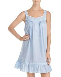 Eileen West - Embroidered Chambray Chemise - Lyst