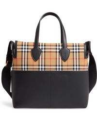5c8821477b42 Lyst - Burberry  medium Lindburn  Check Embossed Leather Hobo in Black