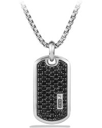David Yurman - Pave Enhancer Black Diamond Dog Tag Necklace - Lyst