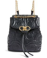 Ferragamo - Quilted Gancio Leather Backpack - Lyst