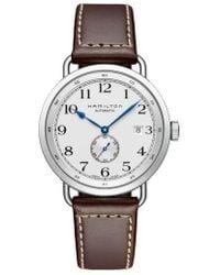 Hamilton - Khaki Navy Pioneer Leather Strap Watch - Lyst