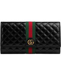 60345afd575ffa Gucci Rania Leather Zip Around Wallet in Black - Lyst