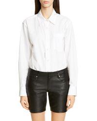 b7cdb8c86d1f Donna Karan Sleeveless Collared Poplin Bodysuit in White - Lyst