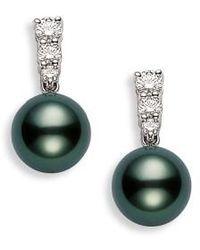Mikimoto - 'morning Dew' Black South Sea Cultured Pearl & Diamond Earrings - Lyst