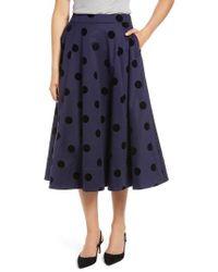 Nordstrom - 1901 Black Dot Circle Stretch Cotton Midi Skirt - Lyst