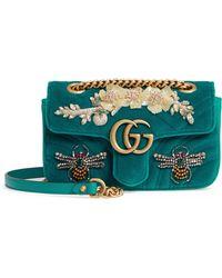 01ce360d10c8 Gucci - Mini Gg Marmont Matelasse Velvet Shoulder Bag - - Lyst