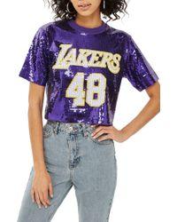 TOPSHOP - X Unk Lakers Sequin Crop Top - Lyst