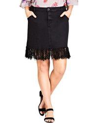 City Chic - Frayed Hem Denim Skirt - Lyst