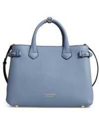 Burberry - Medium Banner House Check Leather Tote - Lyst