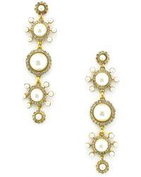 Elizabeth Cole - Gretchen Imitation Pearl Linear Earrings - Lyst