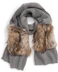 Stella McCartney - Wool Scarf With Faux Fur Panels - Lyst