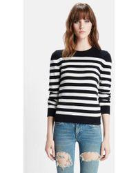 Saint Laurent - Stripe Cashmere Sweater - Lyst
