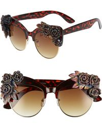 776e4fb474 Lyst - Cara Women s Flower Leaf Octagonal Aviator Sunglasses in Metallic