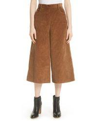 See By Chloé - Corduroy Wide Leg Crop Pants - Lyst