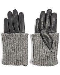 TOPSHOP - Wool-blend Cuff Genuine Leather Gloves - Lyst