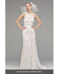 Watters - Vendela Sleeveless Empire Waist Lace Gown - Lyst