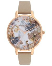 Olivia Burton - Marble Floral Leather Strap Watch - Lyst