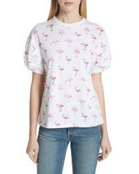 Victoria, Victoria Beckham | Puff Sleeve Flamingo Print Tee | Lyst