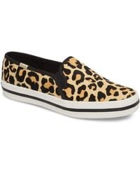 Kate Spade - Keds X Double Decker Leopard Printed Calf Hair Pony Sneakers - Lyst