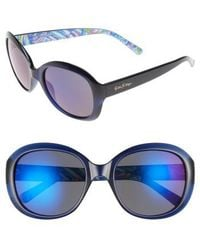 Lilly Pulitzer | Lilly Pulitzer Magnolia 57mm Polarized Round Sunglasses - Navy | Lyst