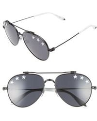 Givenchy - Star Detail 58mm Mirrored Aviator Sunglasses - Lyst