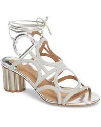 Ferragamo - Vinci Lace-up Block Heel Sandal - Lyst