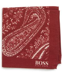 BOSS - Paisley Cotton & Wool Pocket Square - Lyst
