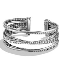 David Yurman - 'crossover' Four-row Cuff With Diamonds - Lyst