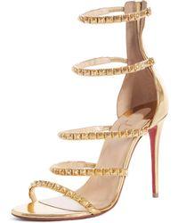 e6610ec52 Christian Louboutin - Forever Girl 100 Metallic Leather Slingback Sandals -  Lyst