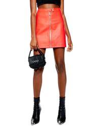 TOPSHOP - Penelope Faux Leather Miniskirt - Lyst