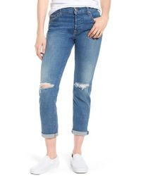 7 For All Mankind - 7 For All Mankind Josefina Ripped Boyfriend Jeans - Lyst