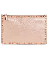 Valentino - Large Rockstud Flat Leather Zip Pouch - Lyst