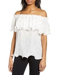 d1ecfb6cce8e5 Lyst - Charlotte Russe Floral Eyelet Off-the-shoulder Top in White