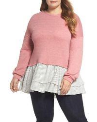Caslon - Caslon Layered Look Sweatshirt - Lyst