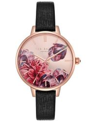 Ted Baker - Kate Leather Strap Watch - Lyst