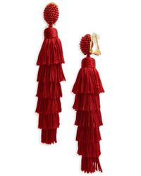 Oscar de la Renta - Tassel Clip Earrings - Lyst