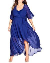 City Chic - Trendy Plus Size Chiffon Wrap Dress - Lyst