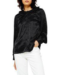 TOPSHOP Peter Pan Collar Satin Spot Shirt - Black