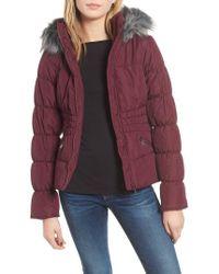 Maralyn & Me - Faux Fur Trim & Fleece Lined Puffer Jacket - Lyst