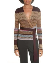 Diane von Furstenberg - Metallic Stripe Wrap Sweater - Lyst