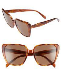 Céline - 57mm Modified Square Cat Eye Sunglasses - Blonde Havana - Lyst