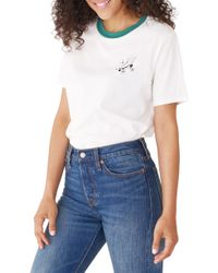 b4fc912406ba6 Lyst - MINKPINK Chose Disco Tie Front Slouch Ringer T-shirt in White