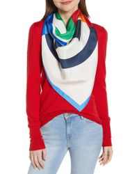 Tory Burch - Colorblock Logo Silk Scarf - Lyst
