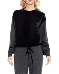Two By Vince Camuto - Velvet Panel Sweatshirt - Lyst