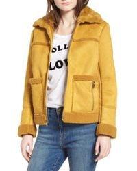 Sam Edelman - Faux Shearling Zip Front Jacket - Lyst