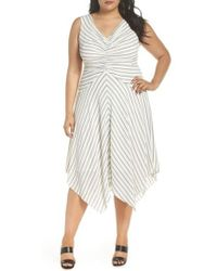 Maggy London - Stripe Ruched Handkerchief Hem Dress - Lyst