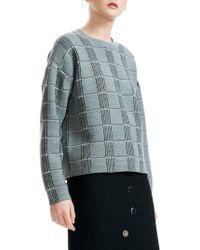 Maje - Mission Grid Pattern Wool Blend Sweater - Lyst