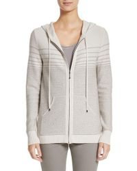 St. John - Micro Sequined Textured Stitch Knit Hoodie - Lyst