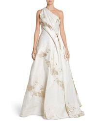 Rubin Singer | One-shoulder Drape Metallic Jacquard Gown | Lyst