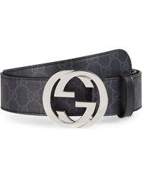 Gucci - Logo Buckle Interlocking Belt - Lyst